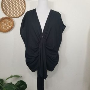 Zara ruching and tie detail top blouse M